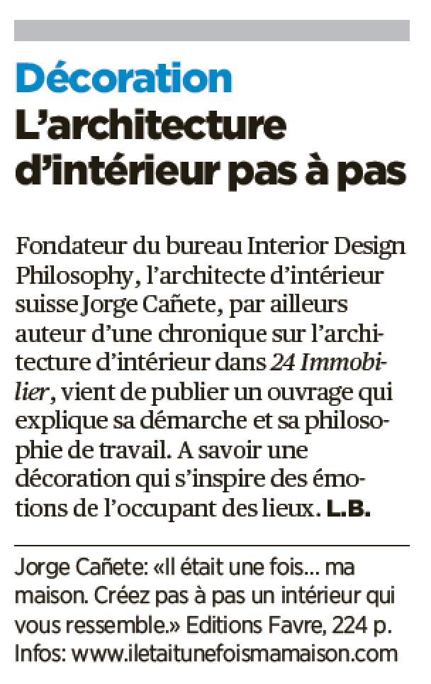 """Le livre """"Il était une fois… ma maison"""" est présenté dans le journal suisse 24 HEURES"""