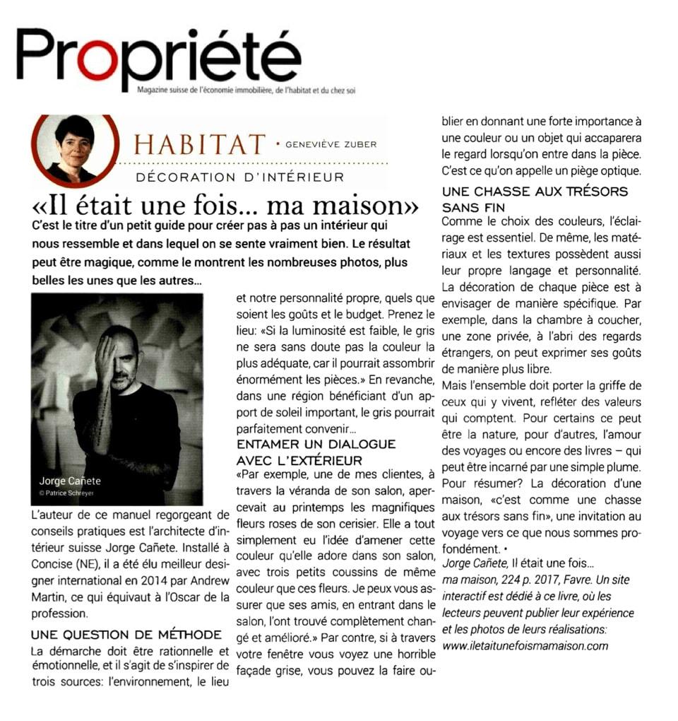 Article paru dans le Magazine Propriété