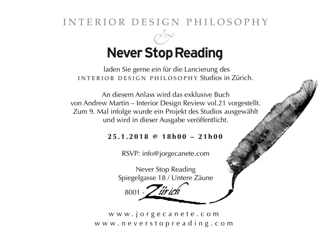 Invitation à la présentation de l'équipe Interior Design Philosophy de Zurich