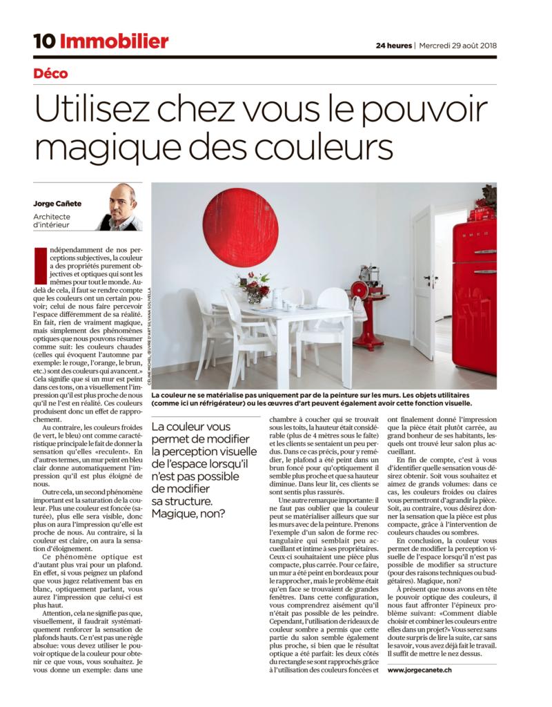 Jorge Cañete - Article sur la couleur dans la revue Immobilier de 2018-08-29