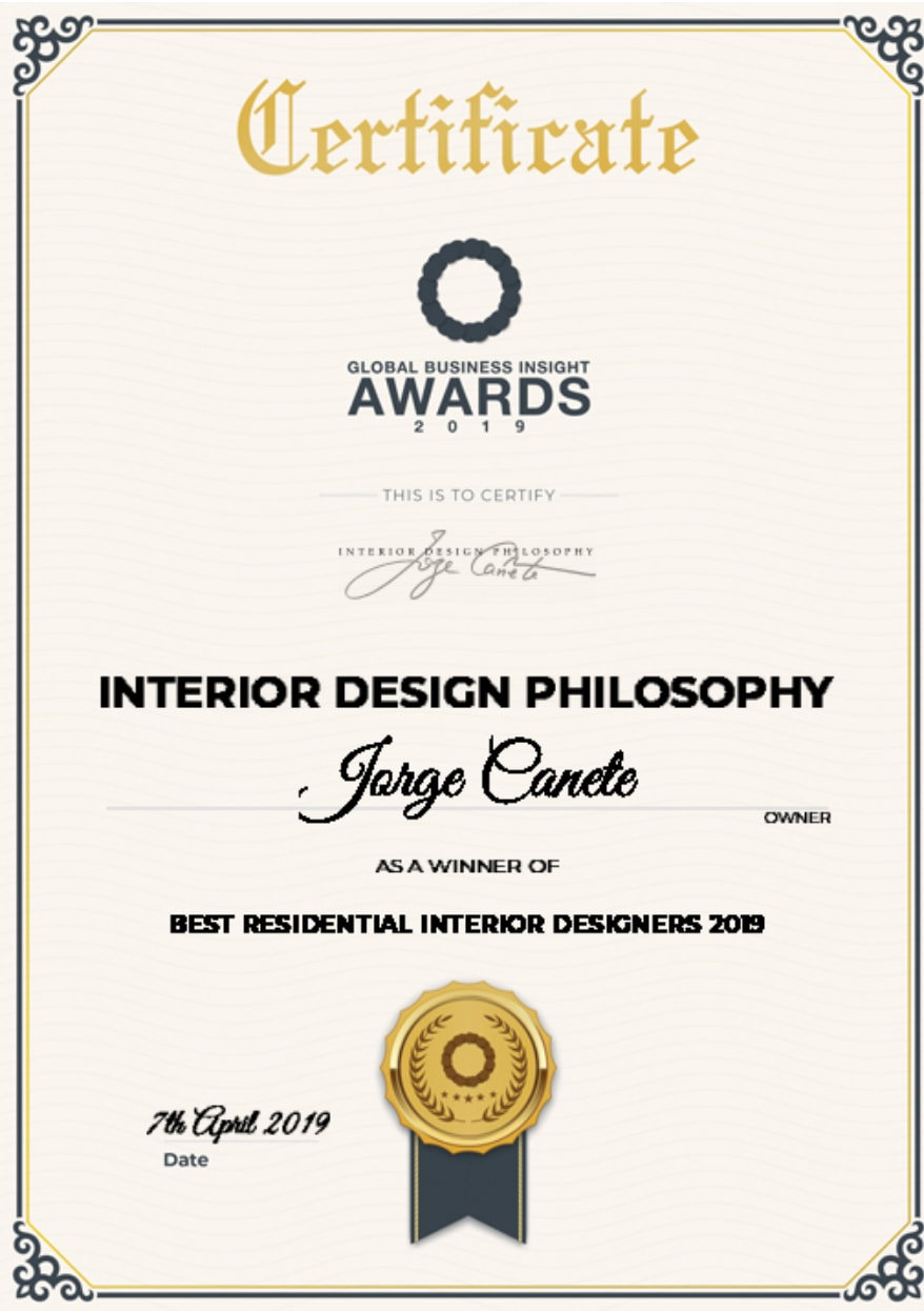 The 2019 Global Business Insight Awards celebrate business leadership, innovation in finance and investment and sector success across all seven continents of the world, and GBI is delighted to tell you that Jorge Canete, Interior Design Philosophy, has been selected as Best Residential Interior Designers 2019