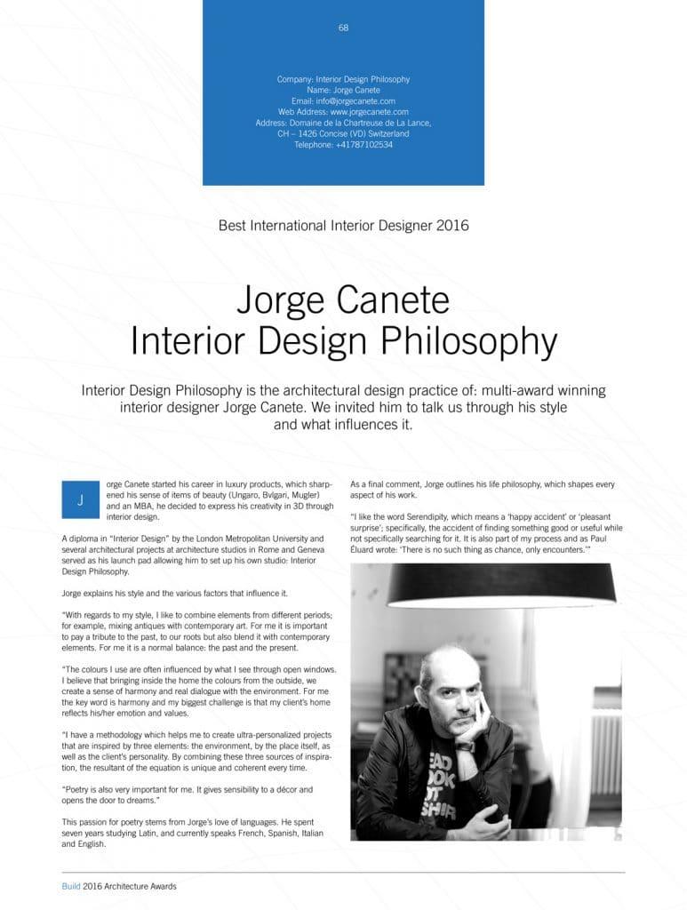 Build Architecture Awards 2016 - Interior Design Philosophy