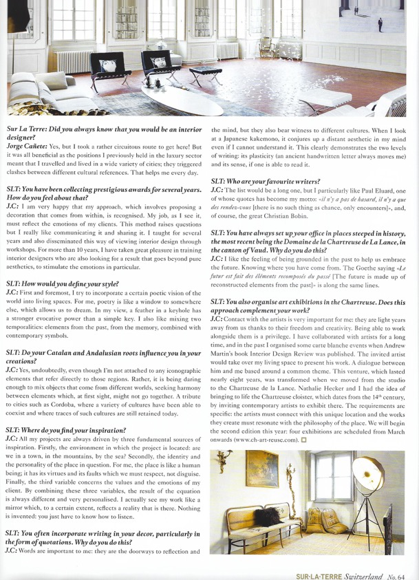 An article about the studio in the Swiss Magazine, Sur La Terre